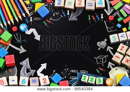 Black board with school tools temlate