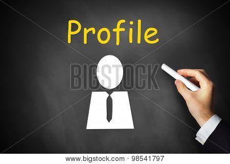 Hand Wiritn Profile On Black Chalkboard
