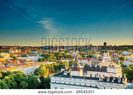Sunset Sunrise Cityscape Of Vilnius, Lithuania In Summer. Beauti