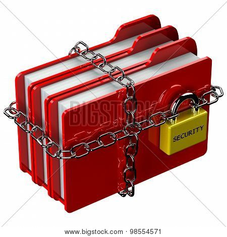 Red Folders With Chain With Padlock With Word Security