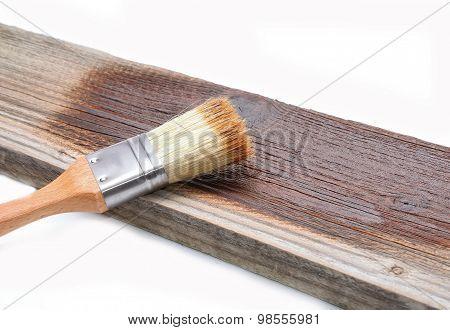 Paint brush on wood