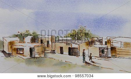 Original watercolour, Wooden houses in an African informal settlement poster
