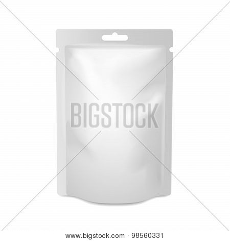 White blank foil food or drink bag packaging with hang slot blister. Plastic pack template ready for