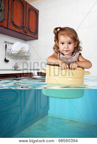 Funny Little Girl Swim In Pan In The Flooded Kitchen, Making Mess Creative Concept