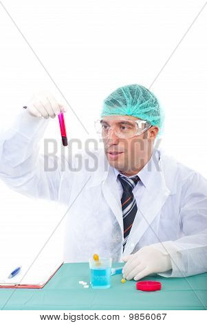 Laboratory Man Examine Blood Tube