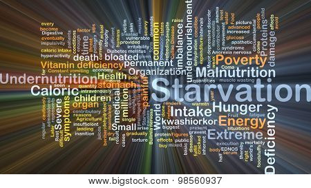 Background concept wordcloud illustration of starvation glowing light