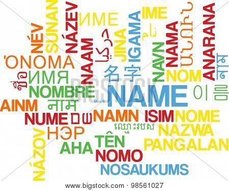 Background concept wordcloud multilanguage international many language illustration of name