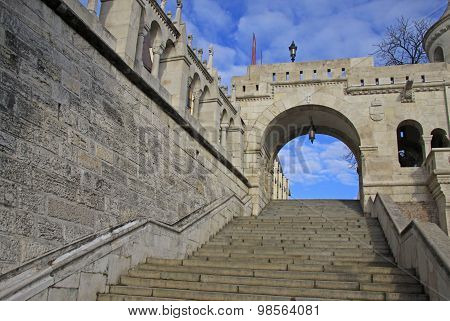 Fisherman's Bastion stairs in Budapest, Hungary