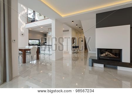 Contemporary designed interior in big expensive house poster