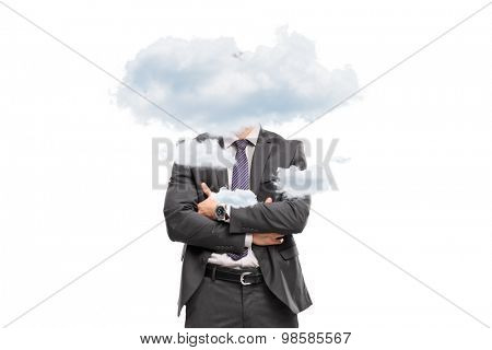 Studio shot of a businessman hidden behind a few small clouds isolated on white background poster