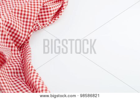 Red Tablecloth Textile On White Background