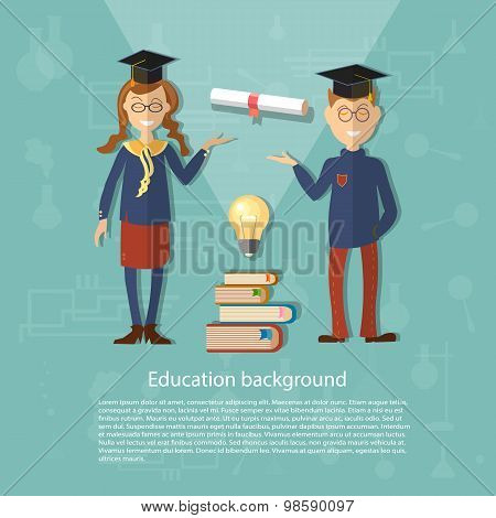 Education schoolboy schoolgirl back to school college university study power of knowledge diploma exams vector illustration poster
