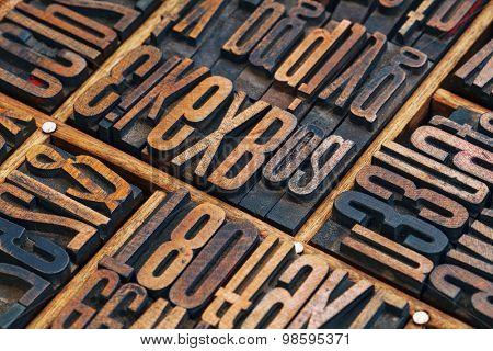 vintage letterpress wood type printing blocks in a typesetter drawer