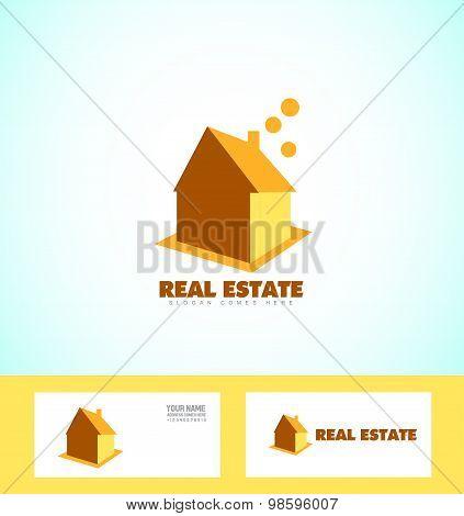 Real Estate House Orange Logo Icon