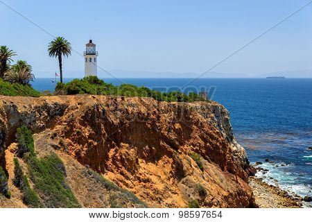 Point Vincente Lighthouse on the rock, Los Angeles