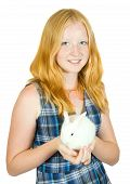 girl with pet rabbit isolated on white backgrou poster