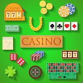 Casino elements Flat design modern vector illustration of casino items gambling chips poker cards roulette money dice ace coin cash horseshoe bandit clover lottery icons with long shadow. poster