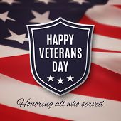 Veterans day background. Shield on American flag. Vector illustration. poster