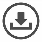 Download raster icon. This rounded flat symbol is drawn with gray color on a white background. poster