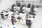 High Angle View Of Engineering Workshop With CNC Machines poster
