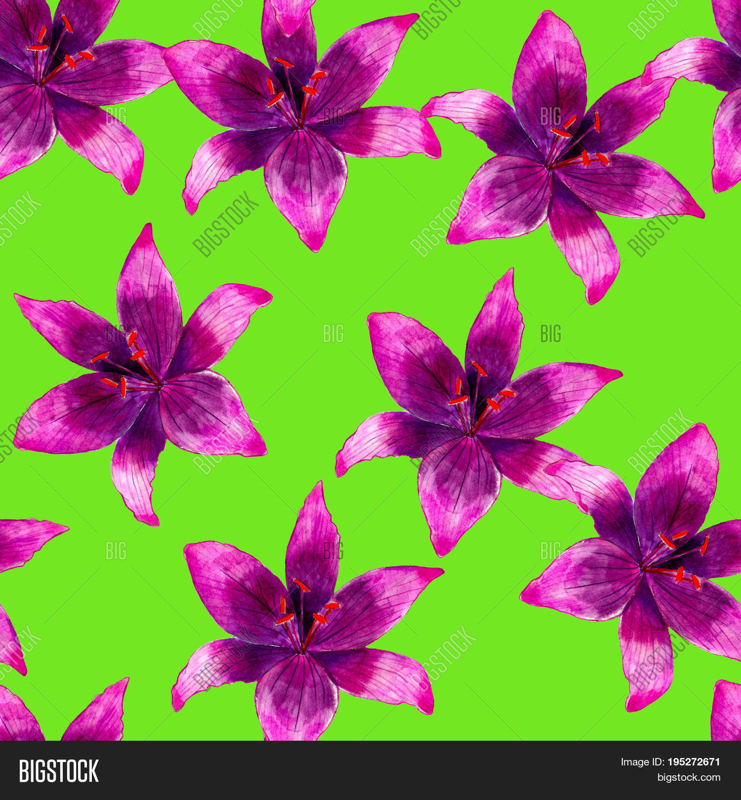 Purple lily flower image photo free trial bigstock purple lily flower watercolor seamless pattern bright tropical flowers isolated on green background hand izmirmasajfo