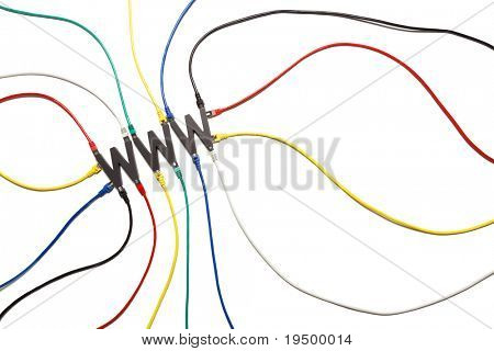Colorful network cables plugged into WWW letters symbolizing the internet connection and data flow, isolated on white background, top view.