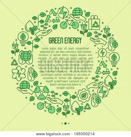 Ecology concept in circle with thin line icons for environmental, recycling, renewable energy, nature. Vector illustration.