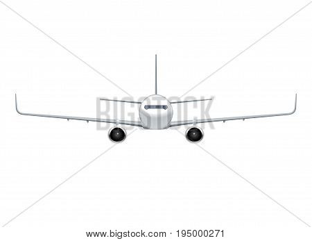 Flying airplane, jet aircraft, airliner. Front view of detailed realistic passenger air plane isolated on white background. Vector illustration