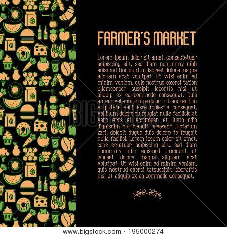 Farmer's market concept contains seamless pattern with thin line icons: fruits, coffee, tea, honey, food, olive oil. Vector illustration for invitation, banner, announcement.
