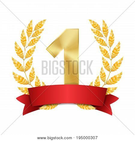 1st Trophy Award Vector. First Golden Placement Achievement. Figure 1 One In A Realistic Gold Laurel Wreath. Red Ribbon. Isolated