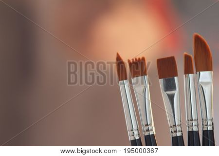 Artistic brushes in the workshop. Brushes artist in the studio for artists.
