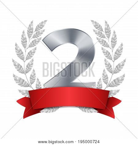 2nd Trophy Award Vector. Second Silver Placement Achievement. Figure 2 Two In A Realistic Silver Laurel Wreath. Red Ribbon. Isolated