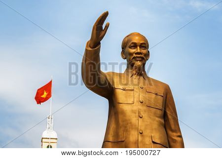 Statue Of President Ho Chi Minh On Blue Sky Background