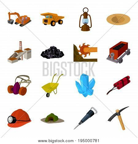 Excavator, jackhammer, helmet and other items for the mine. Mine set collection icons in cartoon style vector symbol stock illustration .