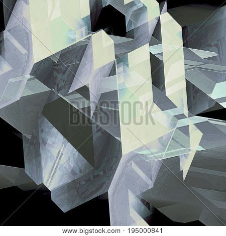 Abstract geometric background of transparent polygonal shapes. Black gray and white scratched background reminiscent of modern architectural features. 3d illustration