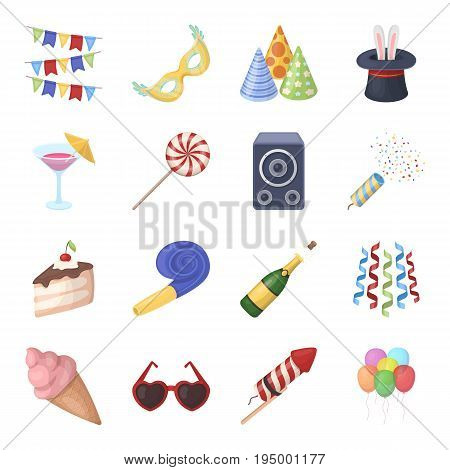 Champagne, firecrackers, cake items for the holiday.Party And Parties set collection icons in cartoon style vector symbol stock illustration .