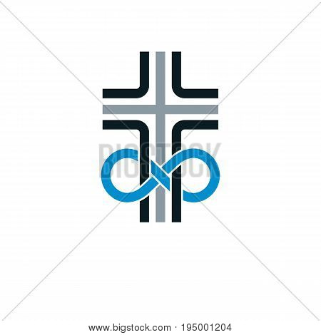 True Infinite Christian Belief in God vector creative symbol design combined with infinity eternal loop and Christian Cross vector logo or sign.