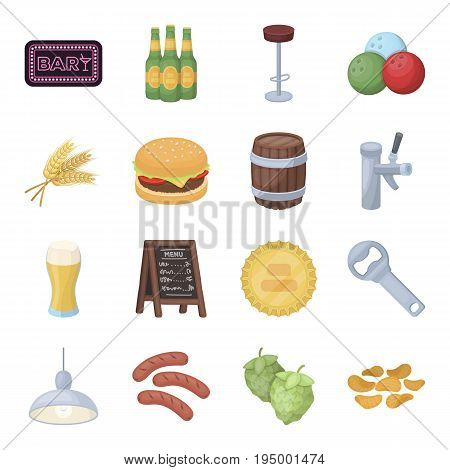 A chair, a beer, a sign, items for a pub.Pub set collection icons in cartoon style vector symbol stock illustration .