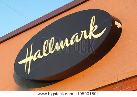 DARTMOUTH CANADA - JULY 10 2017: Hallmark Cards Inc. is a greeting card company based in Kansas City Mo. It is the largest manufacturer of greeting cards in the United States.