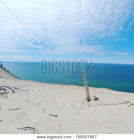 View over looking Lake Michigan from the dunes above.