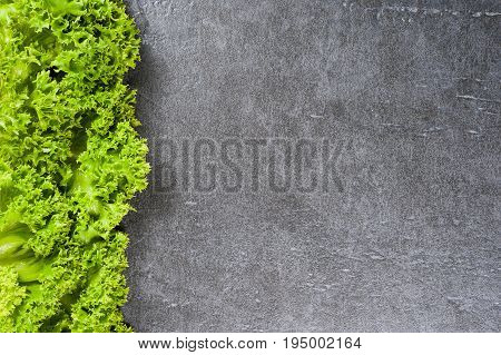 Leaf Romaine Lettuce Salad Over Stone Table. Top View With Copy Space