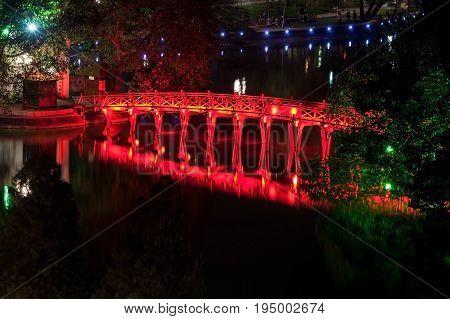 Scenic Ancient Red bridge at lake in Hanoi