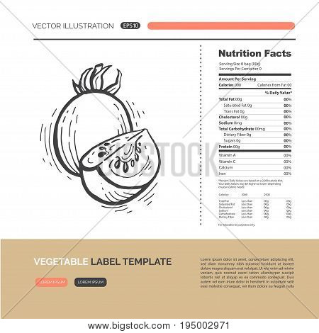 Vector concept of fresh healthy vegetable made in hand drawn style. Healthy lifestyle, nutrition facts label design elements. Simple material design of web graphics.