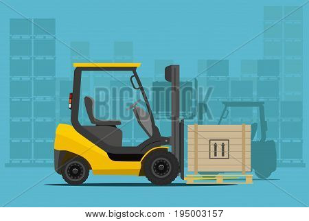 forklift in warehouse. Flat styled vector illustration.