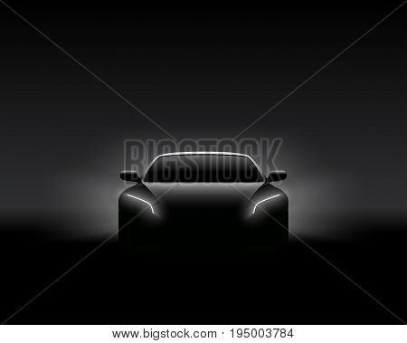 Front View Dark Concept Car Silhouette. Realistic Vector Illustration. Car Silhouette Banner.