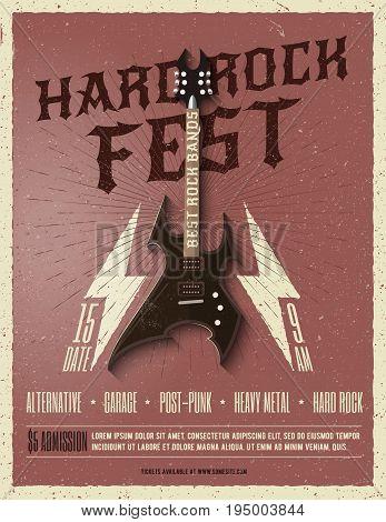 Hard Rock Music Festival Flyer Poster. Vintage Styled Vector illustration. Party Poster