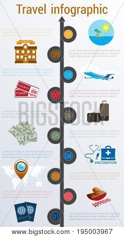 Tourism and travel concept infographic. Numbered 10 positions. Motorway passports visa stamp compass card point syringe medical set dollarssuitcase tickets jet hotel island palm sea sun sky