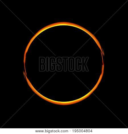 Solar Eclipse. Vector illustration.Abstract ring background. Luminous swirling backdrop