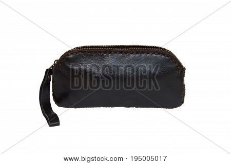 Black leather purse or wallet or holster isolated on a white background.