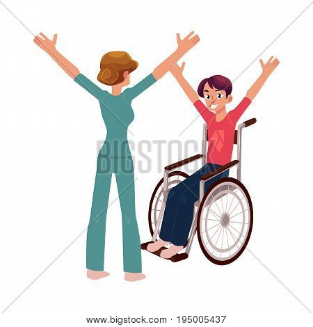 Medical rehabilitation, therapist doing remedial gymnastics with young man in wheelchair, cartoon vector illustration on white background. Medical rehabilitation, physical therapy, remedial gymnastics